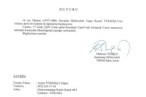 Nevşehir Eski Milletvekili Yaşar Kemal Yüksekli vefat etti.